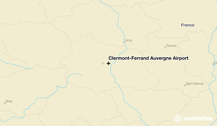 Clermont-Ferrand Auvergne Airport location on a map