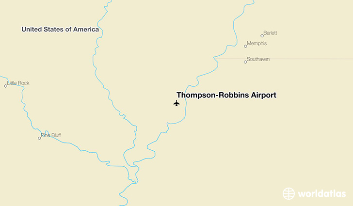 Thompson-Robbins Airport location on a map