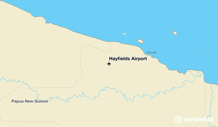 Hayfields Airport location on a map