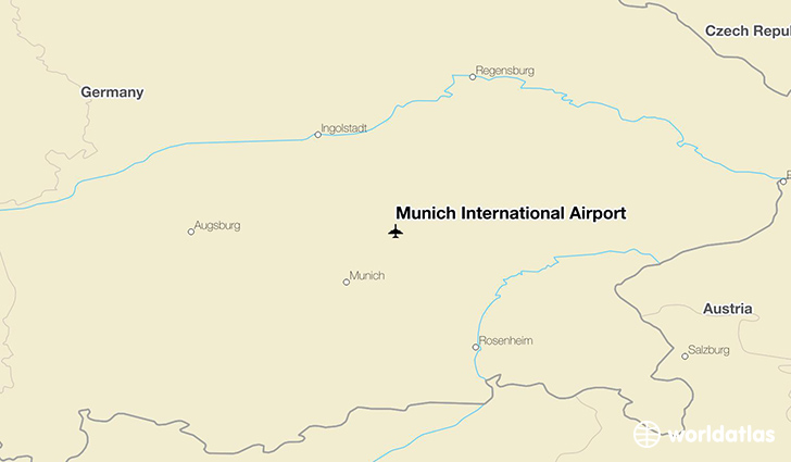 Munich International Airport location on a map