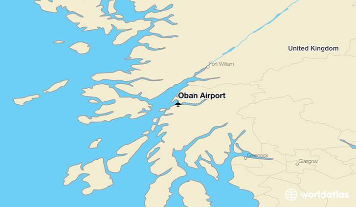Oban Airport location on a map