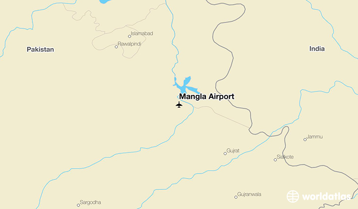 Mangla Airport location on a map