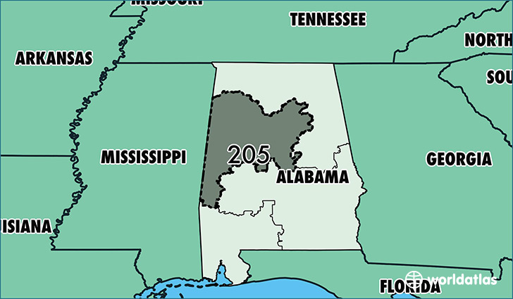 Where Is Area Code Map Of Area Code Birmingham AL - Alabama in us map