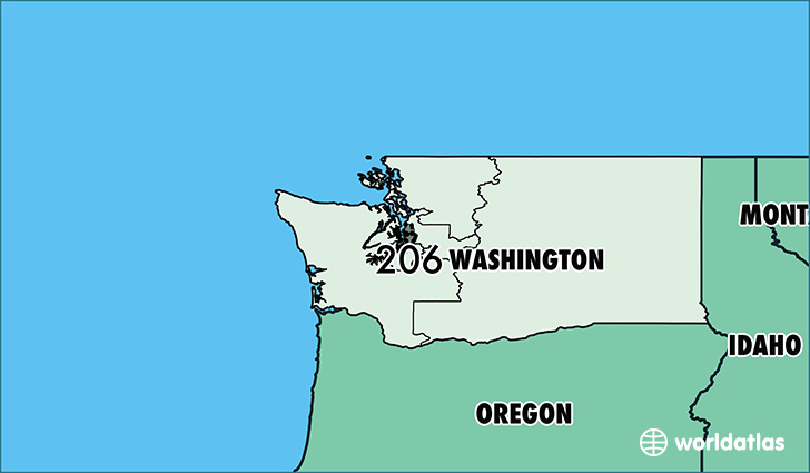 Map of Washington with area code 206 highlighted