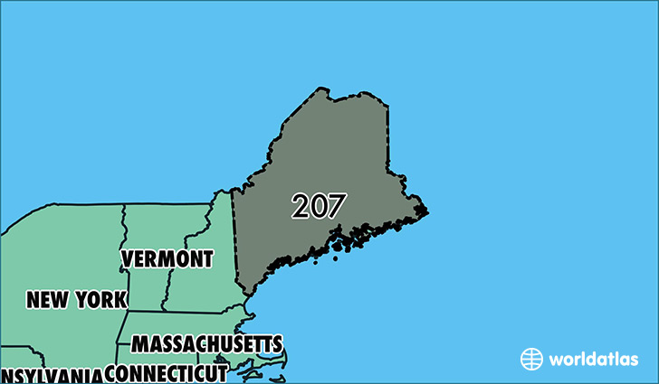 Map of Maine with area code 207 highlighted