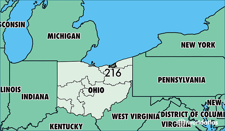 Where Is Area Code 216 Map Of Area Code 216 Cleveland OH Area Code