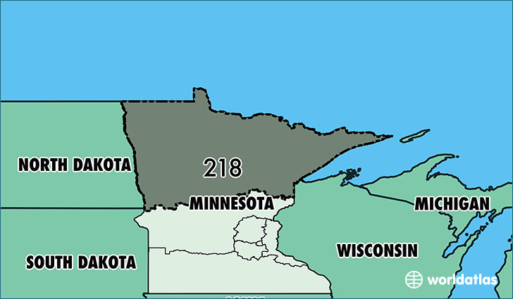 Where Is Area Code Map Of Area Code Duluth MN Area Code - Map of the us with mn highlighted