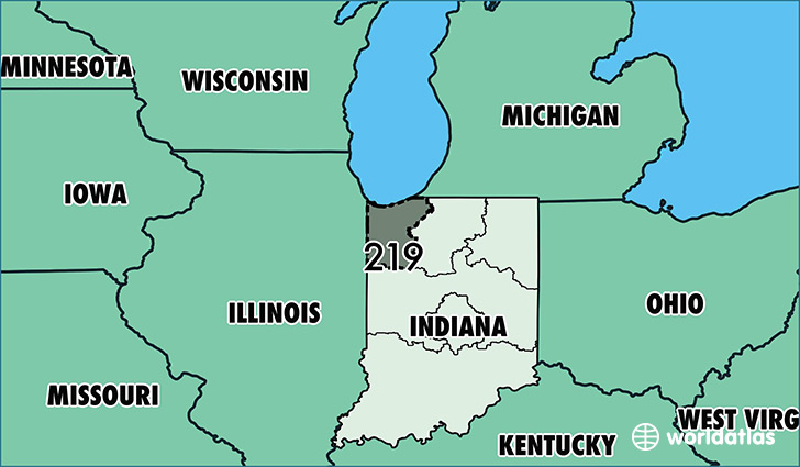 Where Is Area Code Map Of Area Code Gary IN Area Code - Show indiana on us map