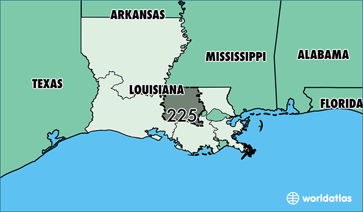 Map of Louisiana with area code 225 highlighted