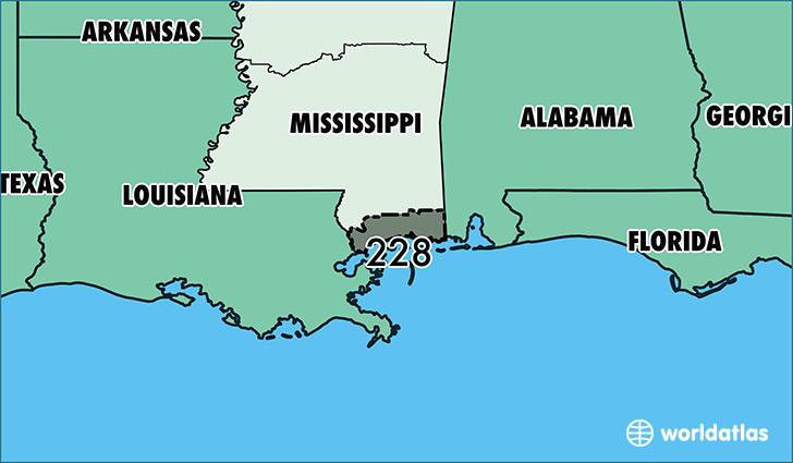 Where Is Area Code 228 Map Of Area Code 228 Gulfport Ms Area Code