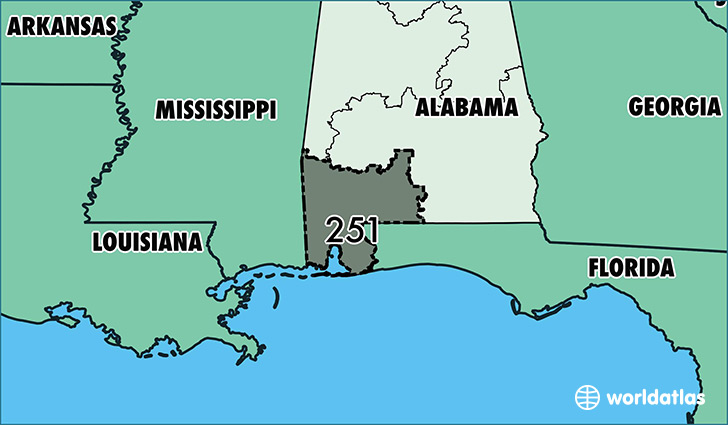 Map of Alabama with area code 251 highlighted