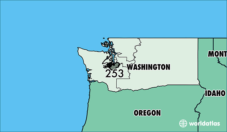 Map of Washington with area code 253 highlighted
