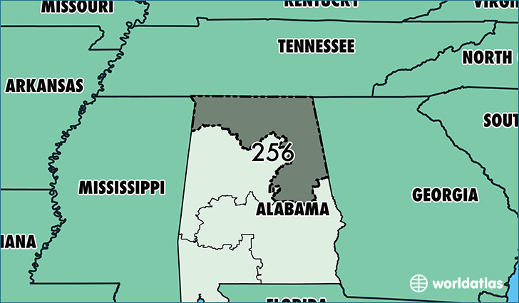 Map of Alabama with area code 256 highlighted