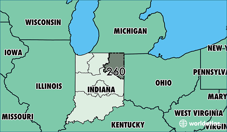 Map of Indiana with area code 260 highlighted