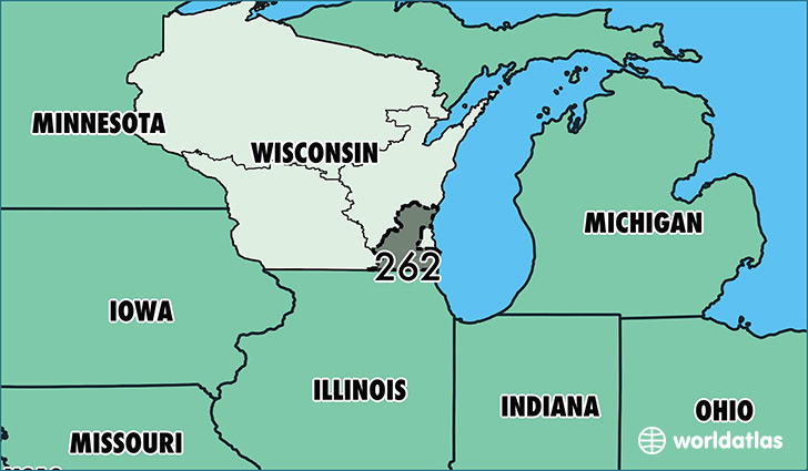 Where Is Area Code 262 Map Of Area Code 262 Racine Wi Area Code - Wisconsin-on-map-of-us