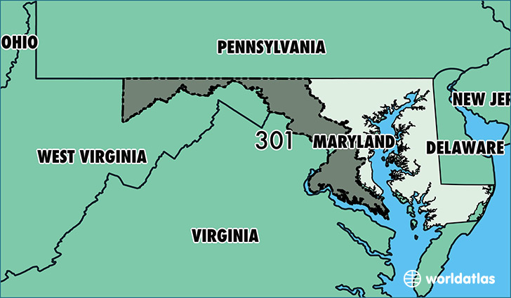 map of maryland with area code 301 highlighted
