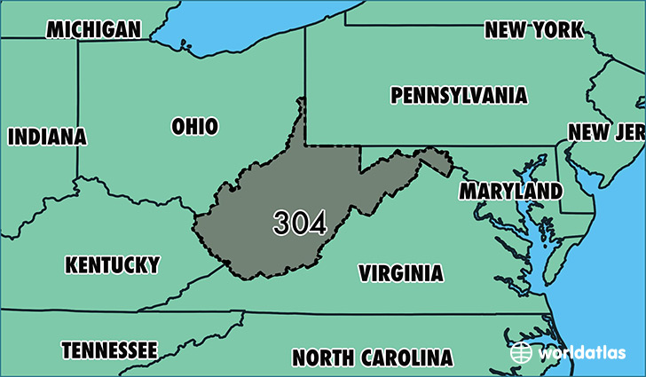 Map of West Virginia with area code 304 highlighted