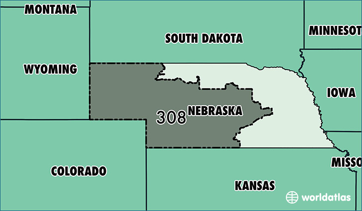 Map Of Nebraska With Area Code 308 Highlighted Location
