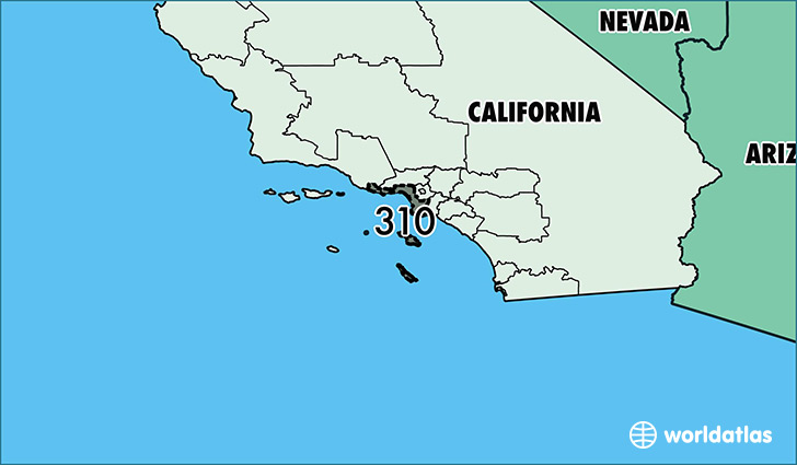Map of California with area code 310 highlighted