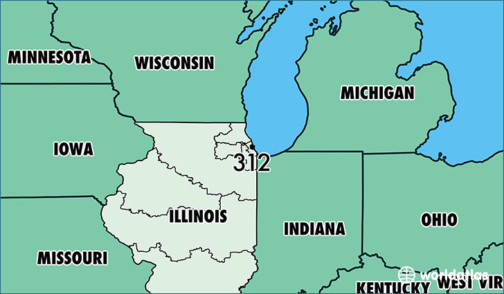 Where Is Area Code 312 Map Of Area Code 312 Chicago