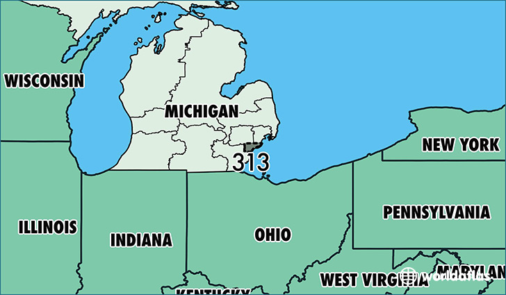 Where Is Area Code 313 / Map Of Area Code 313 / Detroit, MI Area Code
