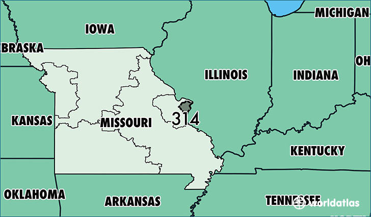 Map Of Missouri With Area Code 314 Highlighted