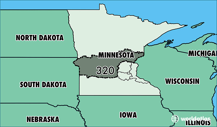 Map of Minnesota with area code 320 highlighted