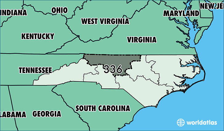 map of north carolina with area code 336 highlighted