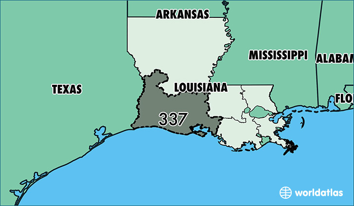 Map of Louisiana with area code 337 highlighted