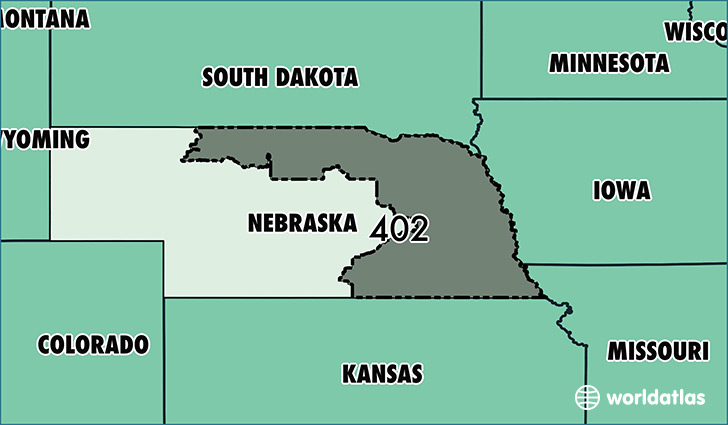Map Of Nebraska With Area Code 402 Highlighted