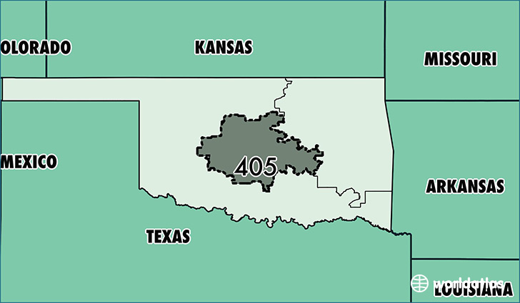 Map of Oklahoma with area code 405 highlighted