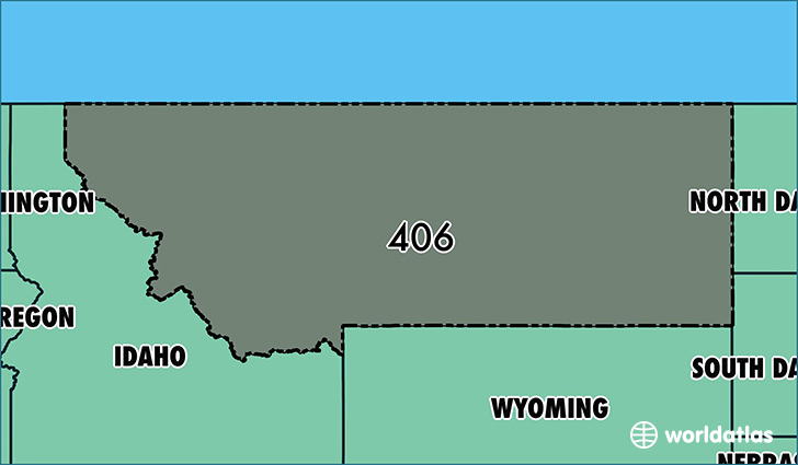 Map of Montana with area code 406 highlighted