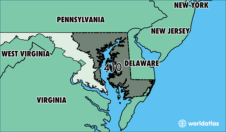 Where Is Area Code 410 Map Of Area Code 410 Baltimore MD Area Code