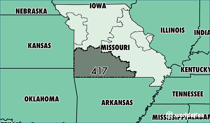Map of Missouri with area code 417 highlighted