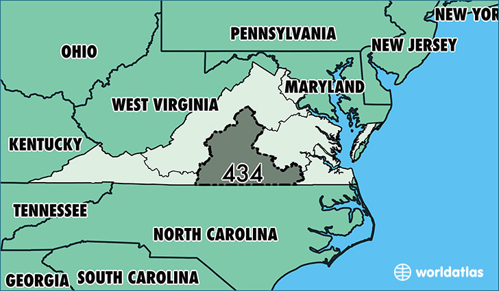 Where Is Area Code Map Of Area Code Lynchburg VA Area - Virginia in usa map