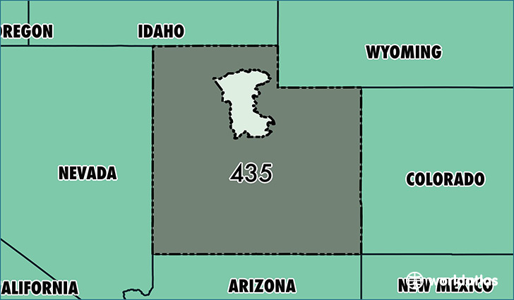 Map of  with area code 435 highlighted