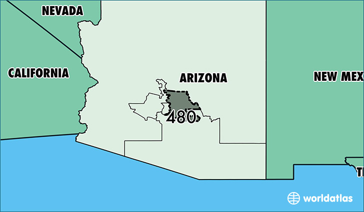 Map of Arizona with area code 480 highlighted