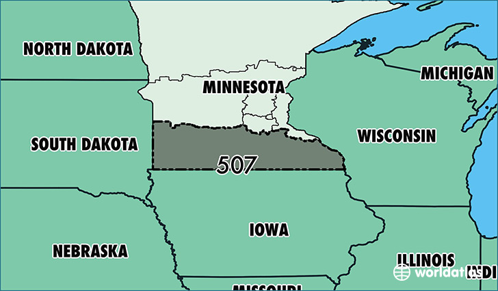 Where Is Area Code 507 Map Of Area Code 507 Rochester MN Area