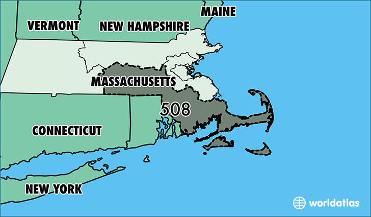 Map of Massachusetts with area code 508 highlighted