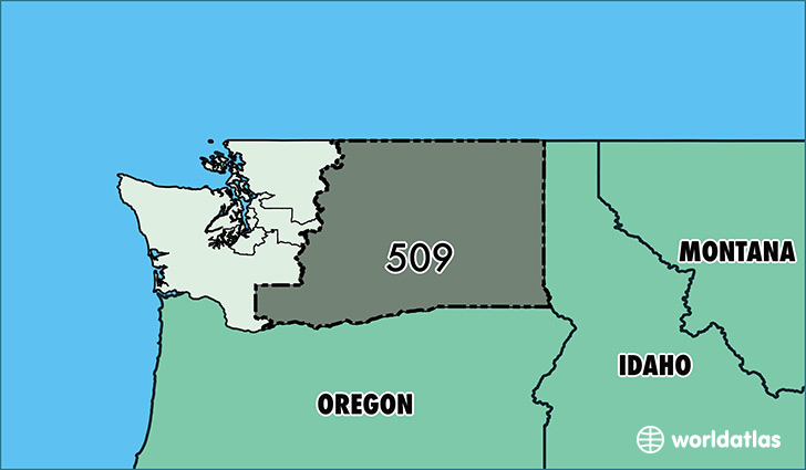 Map of Washington with area code 509 highlighted
