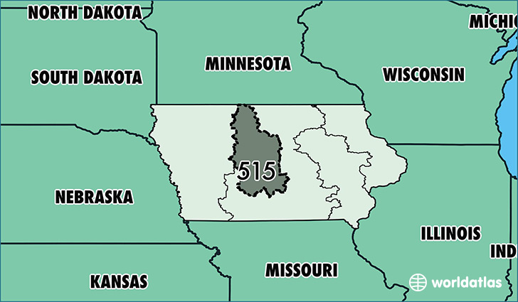 Where Is Area Code 515 Map Of Area Code 515 Des Moines IA