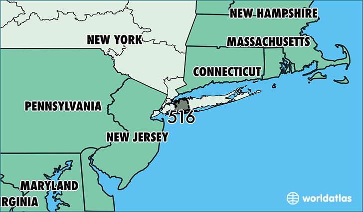 Map of New York with area code 516 highlighted
