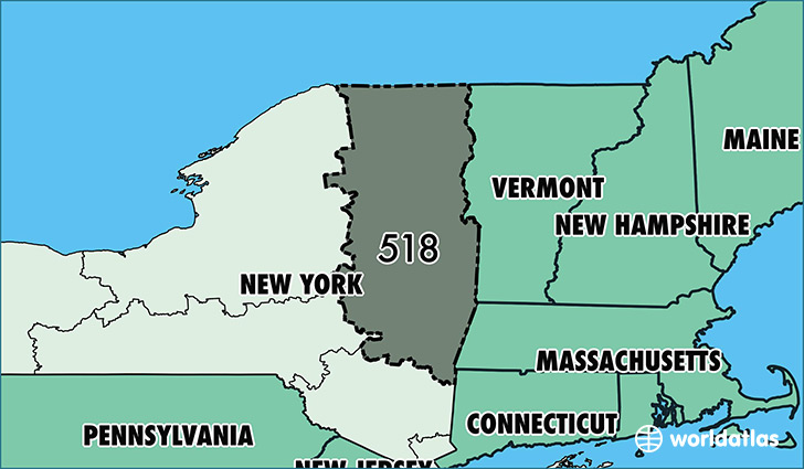 Where Is Area Code 518  Map Of Area Code 518  Schenectady NY