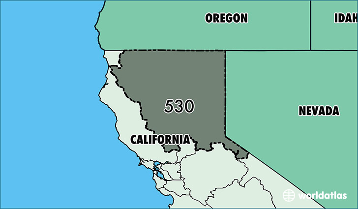Map of California with area code 530 highlighted