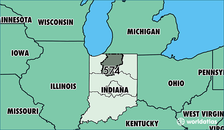Map of Indiana with area code 574 highlighted
