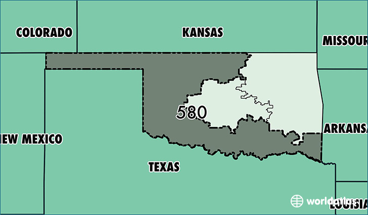 Map of Oklahoma with area code 580 highlighted