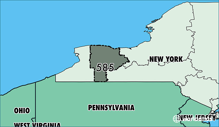 Where Is Area Code 585  Map Of Area Code 585  Rochester NY Area