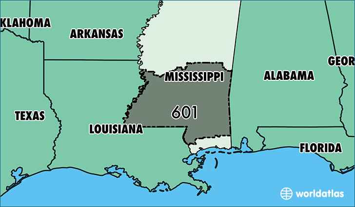 Where Is Area Code 601 Map Of Area Code 601 Jackson Ms Area Code