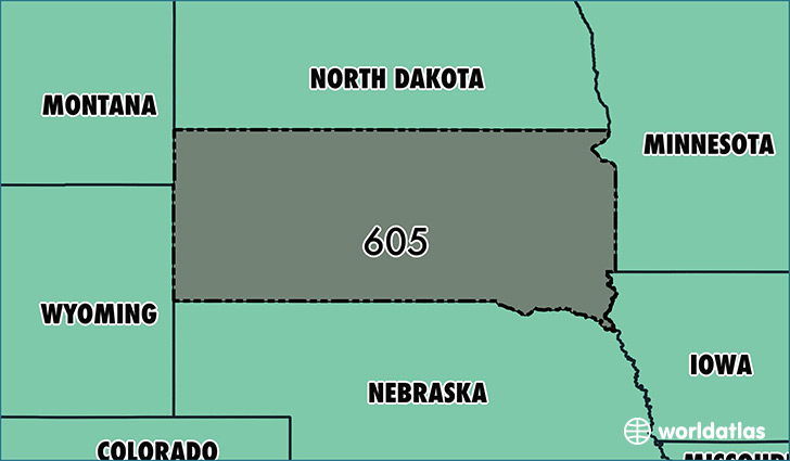 Map of South Dakota with area code 605 highlighted