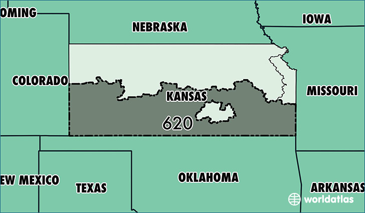 Map of Kansas with area code 620 highlighted